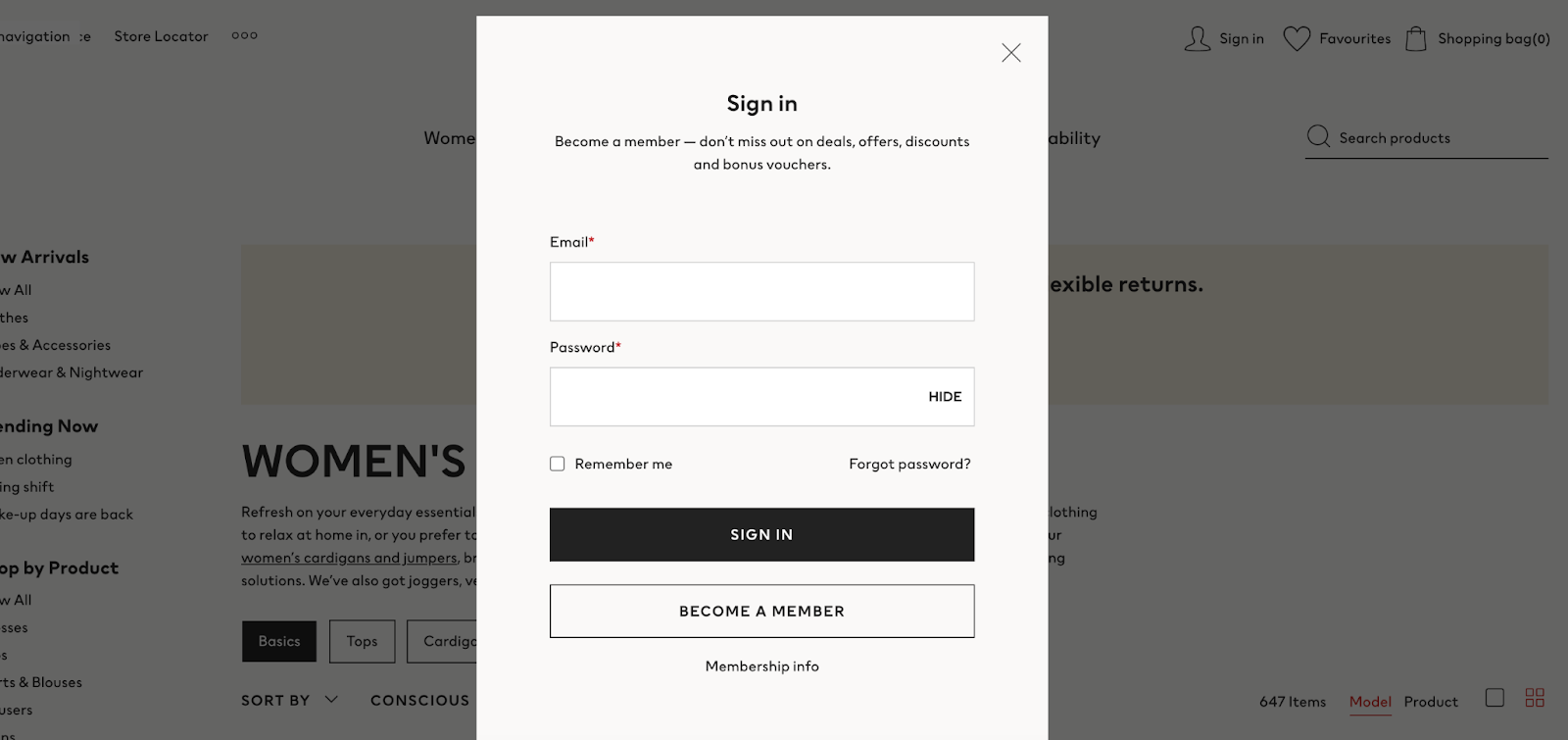 sign in form screenshot