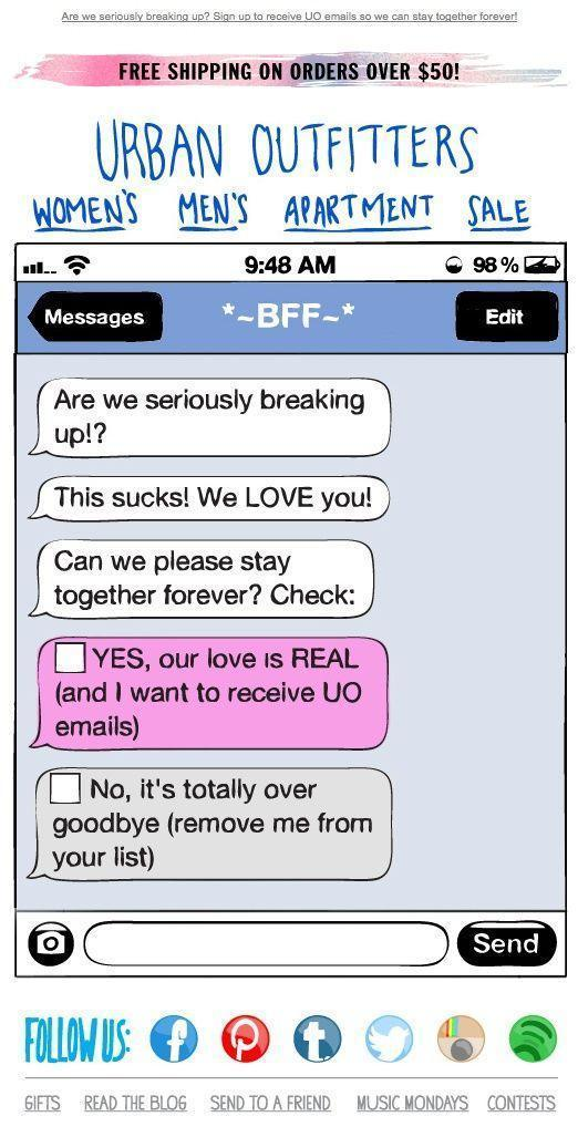 email designed as text conversation