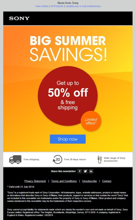 Sony Flash Sale Email