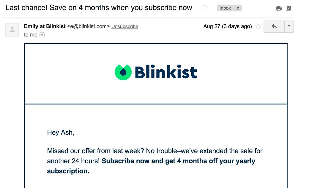 Blinkist Flash Sale Email