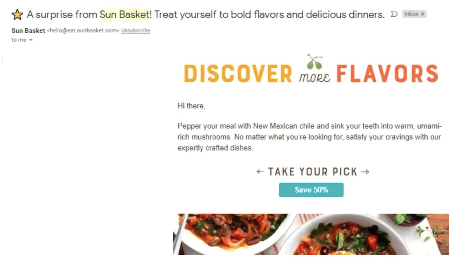 Sun Basket Flash Sale Email
