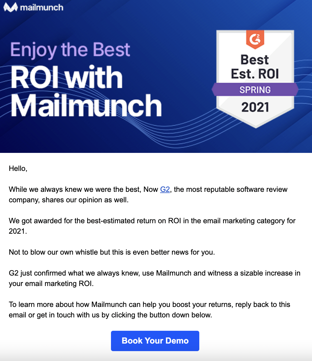 An email from Mailmunch showing the CTA button