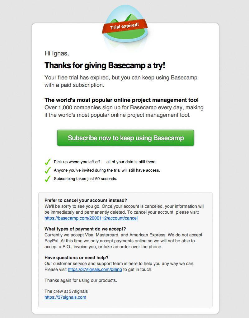 basecamp subscription email