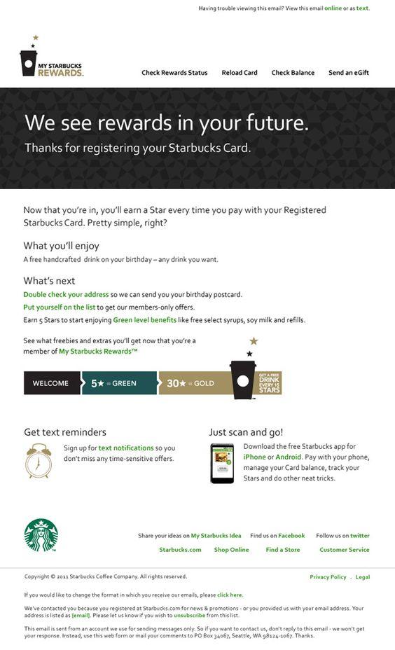starbucks reward email