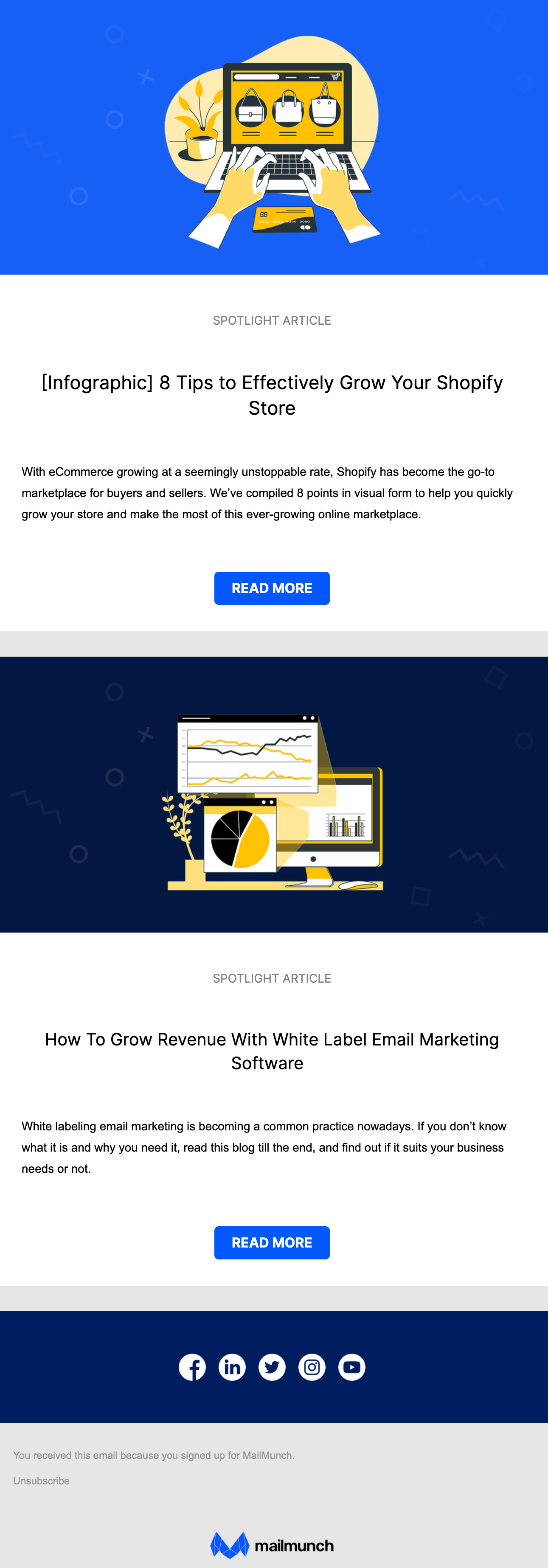 email newsletter from Mailmunch