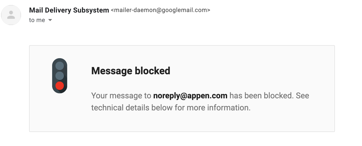 email blocked