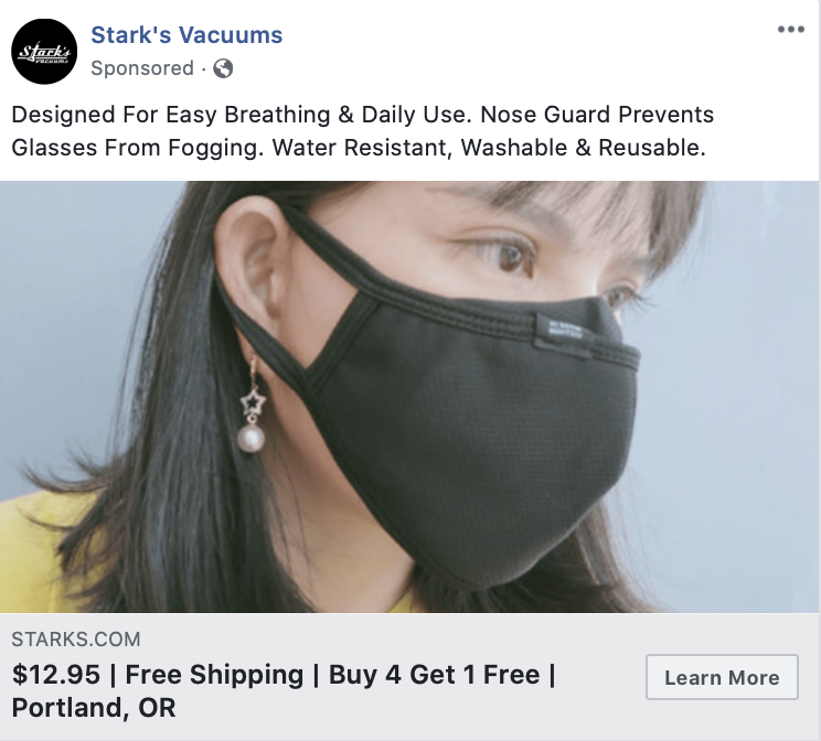 An example of effective use of keywords in an ad's title