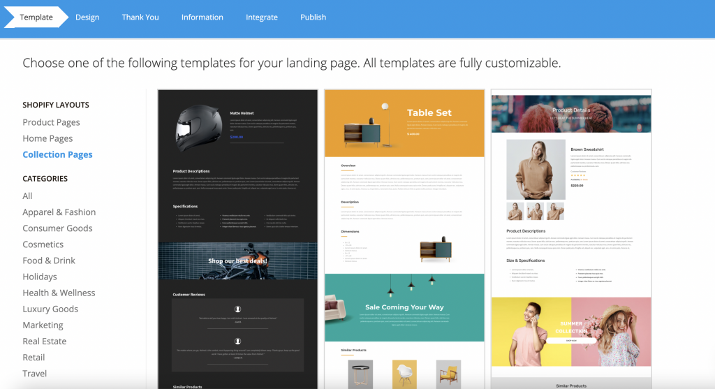 collection pages for Shopify on the Mailmunch app