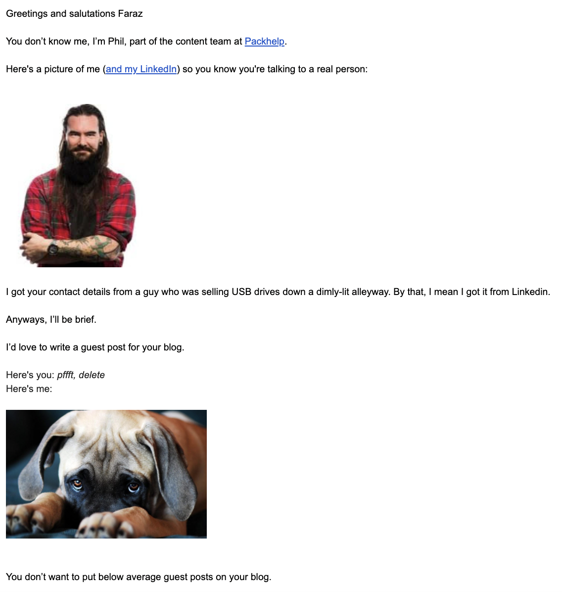 a funny yet engaging email