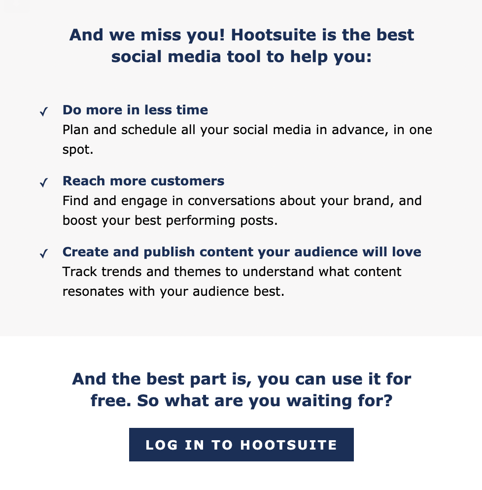 email from Hootsuite listing the benefits of the product