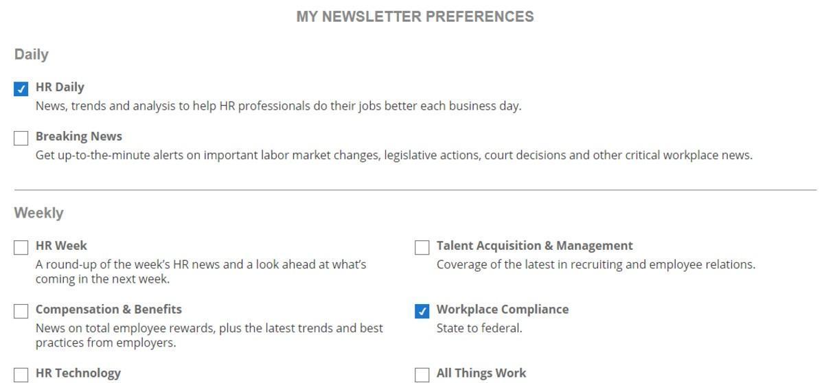 newsletter preferences menu screenshot