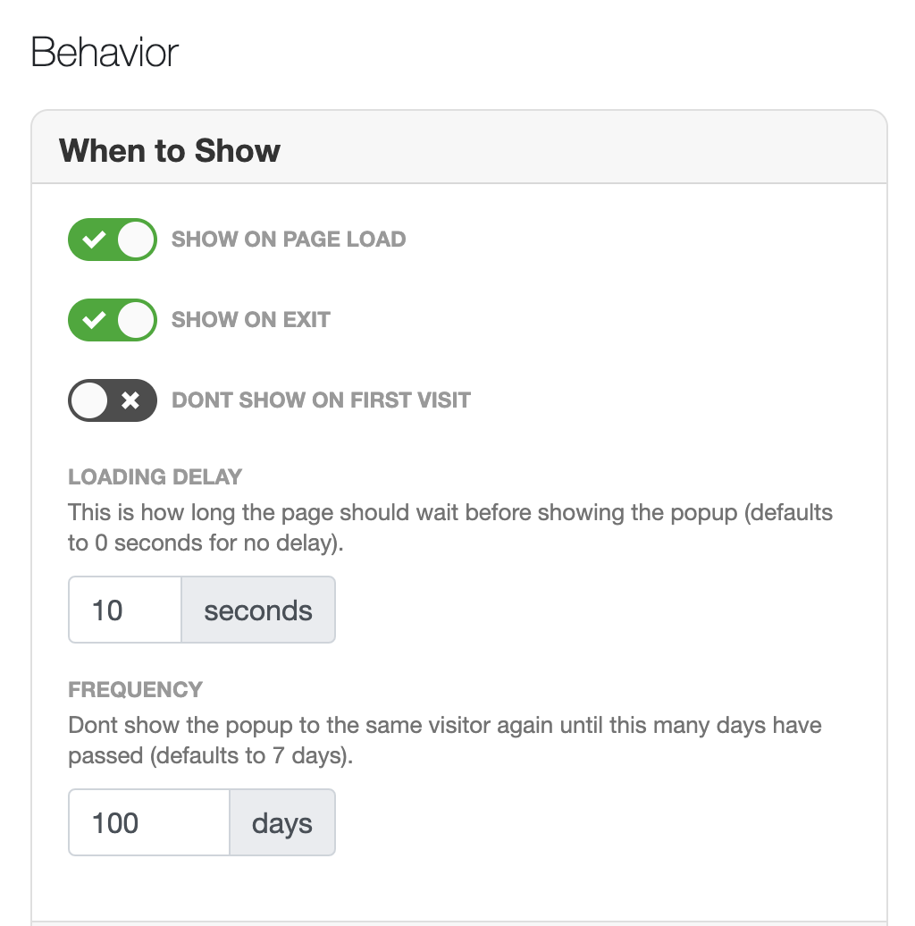 popup settings based on triggers