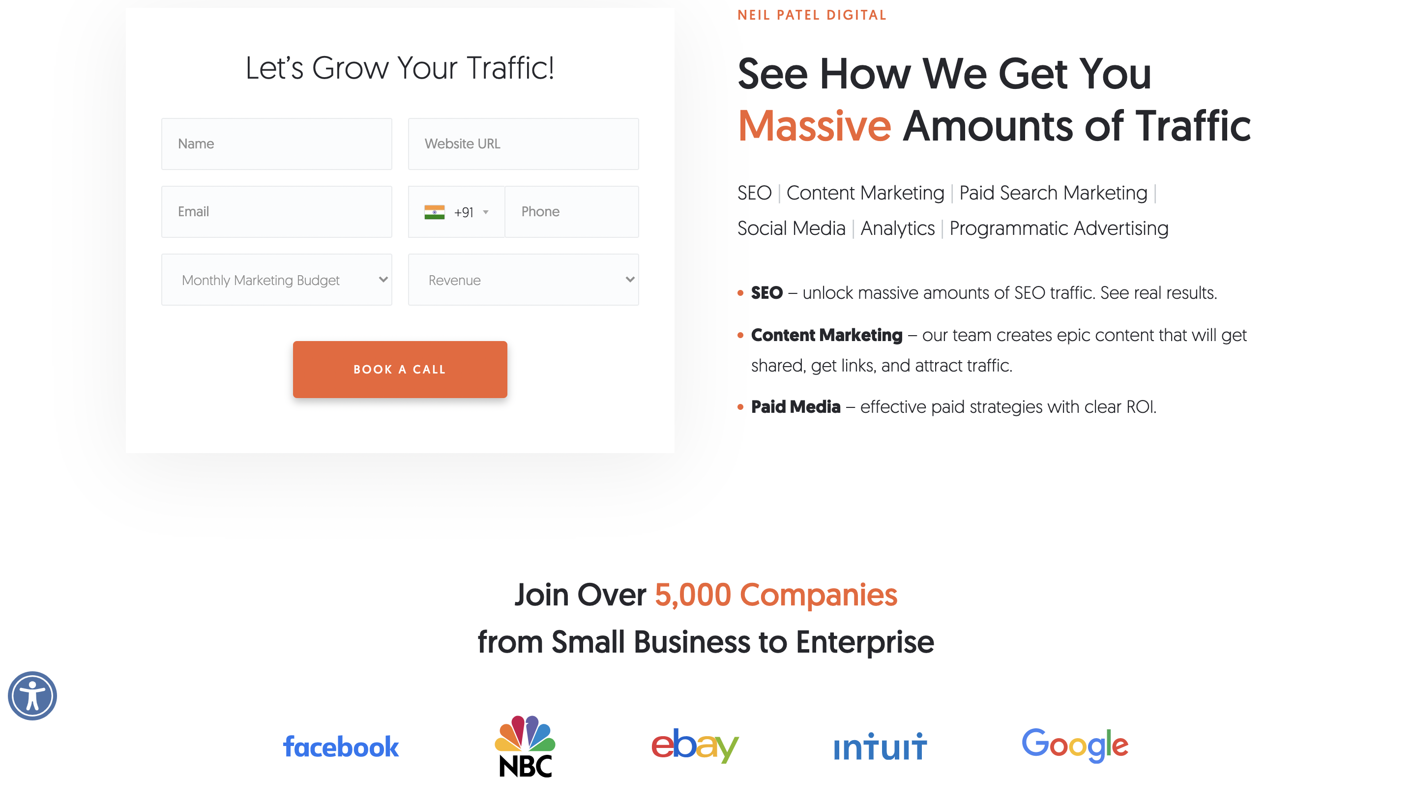 landing page from bottom bar
