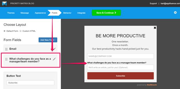 MailMunch Form Editor