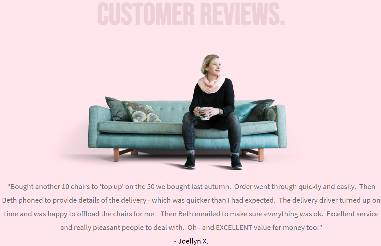 lady sitting on a couch along with her feedback on the furniture company