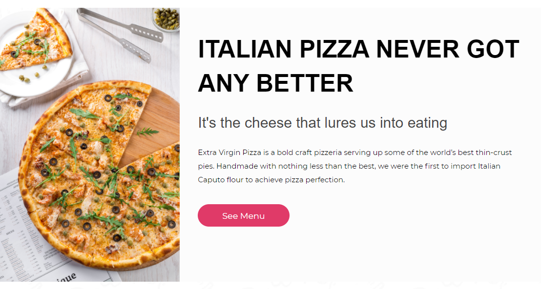 picture of Italian pizza and description of pizzeria producing thin crust with CTA button to check menu