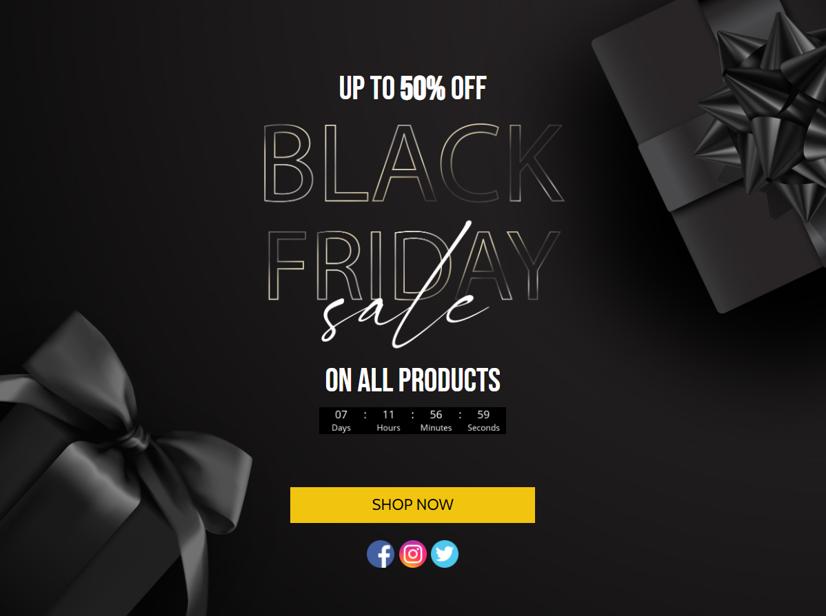 Gifts and text reading black Friday sale with countdown timer and CTA button to shop