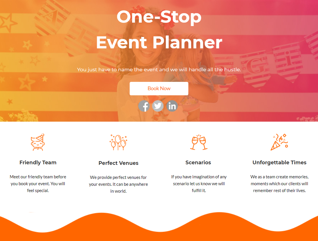talks about event planners and their qualities along with CTA and social media sharing buttons
