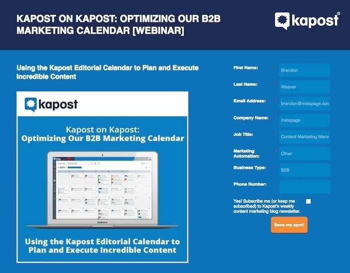 landing page by kapost