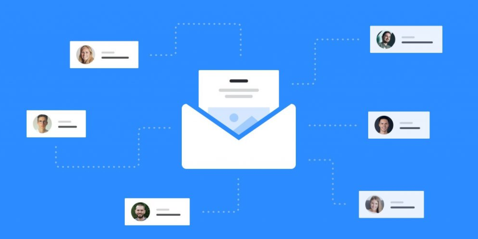 Blue email envelope image indicating how email lists are grown