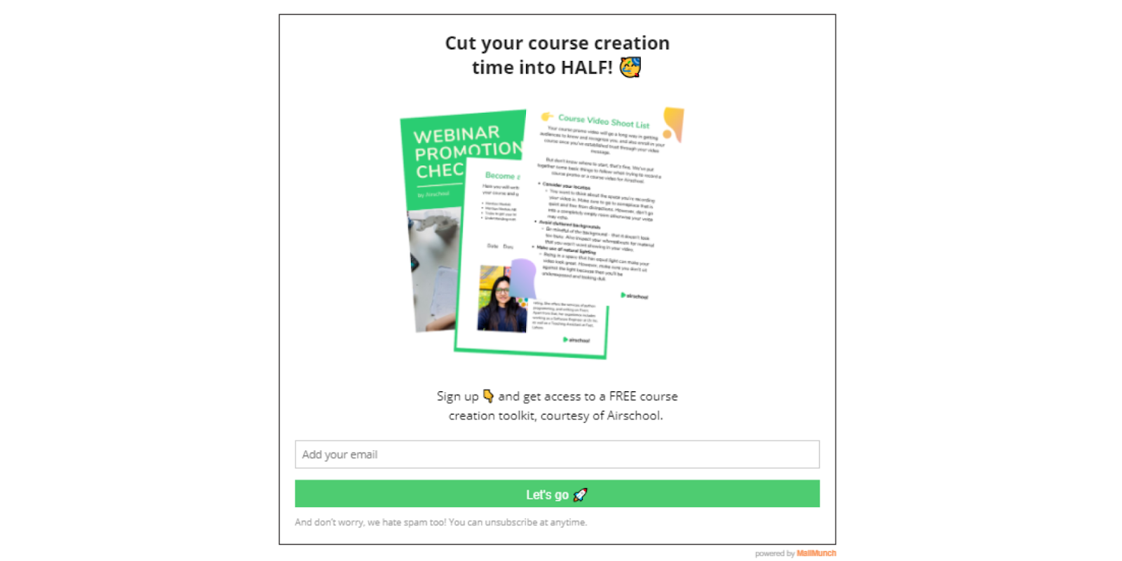 Opt-in form offering a free course creation toolkit lead magnet in return for an email address