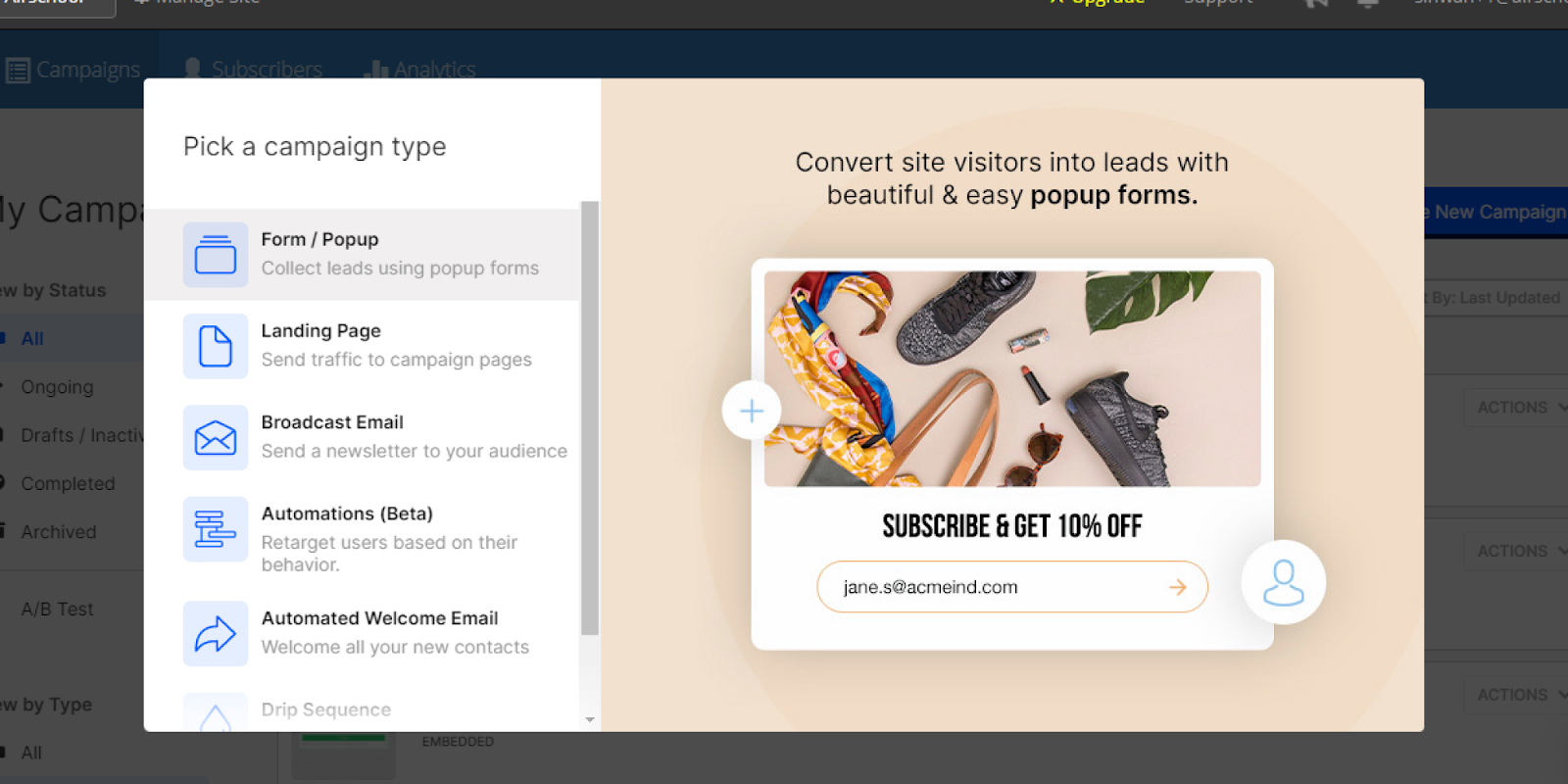 MailMunch campaign options for lead generation and email marketing