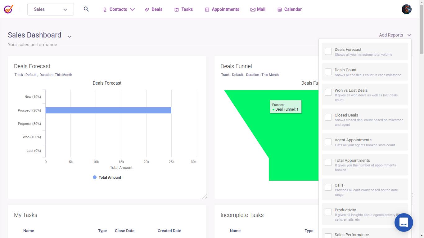 EngageBay sales dashboard screenshot