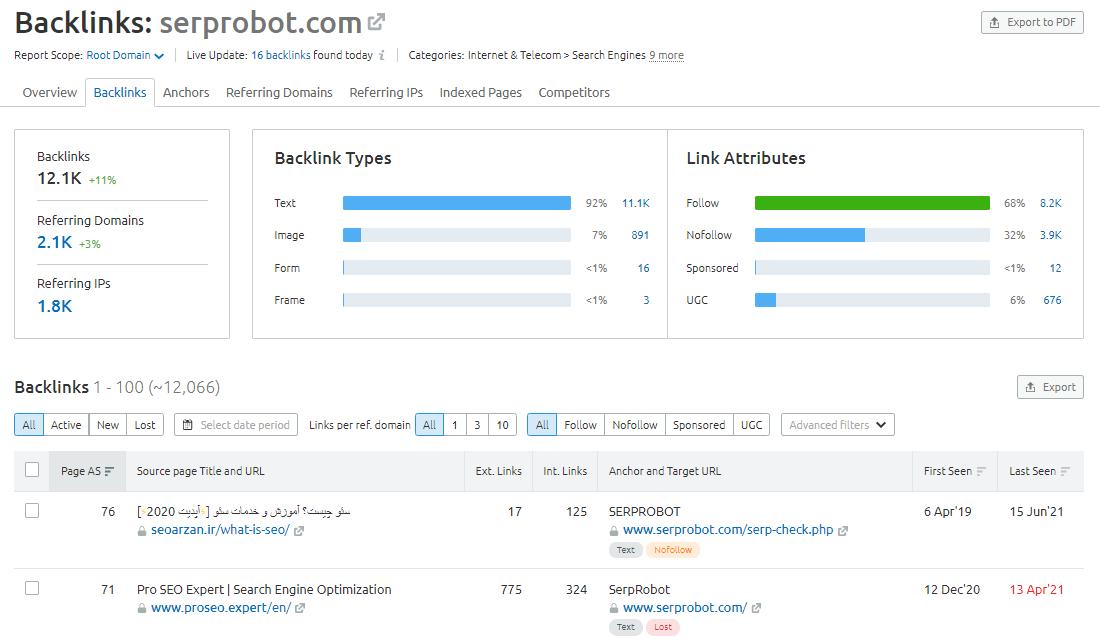 backlink tool screenshot