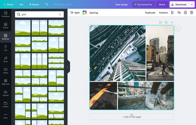 photogrid options in Canva