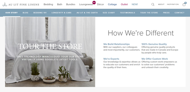 Au Lit Linens explain how their store is different than their competitors