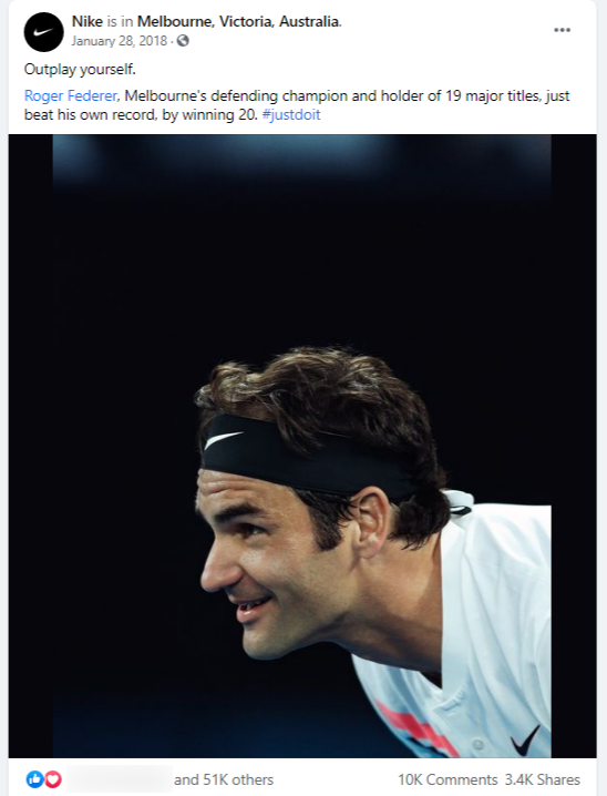 Facebook post of Nike showcasing tennis player Roger Federer
