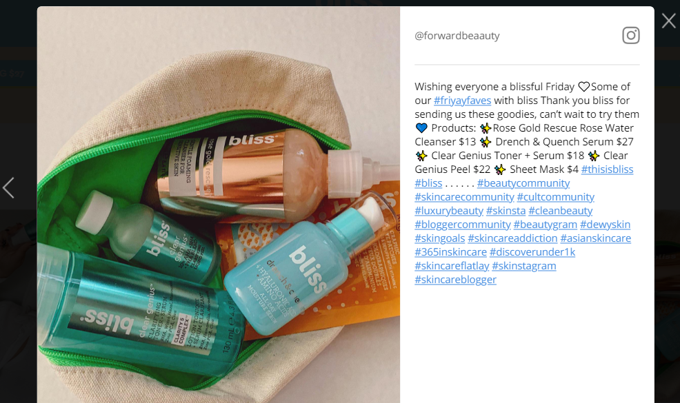 Bliss adds Instagram posts of their users on their webpages