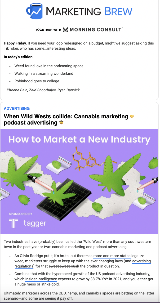email from marketing brew