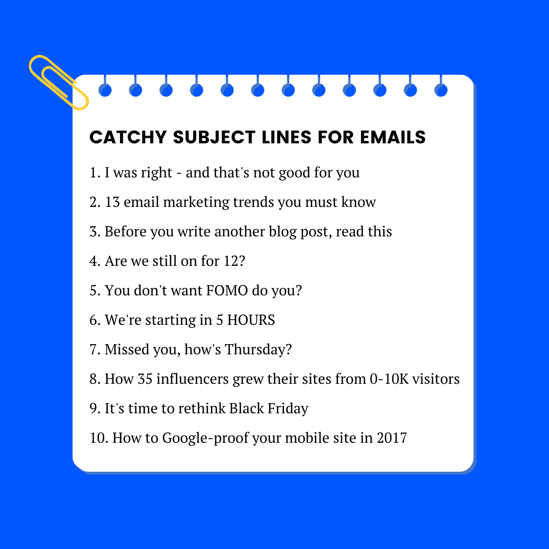 catchy subject lines for emails increase open rates