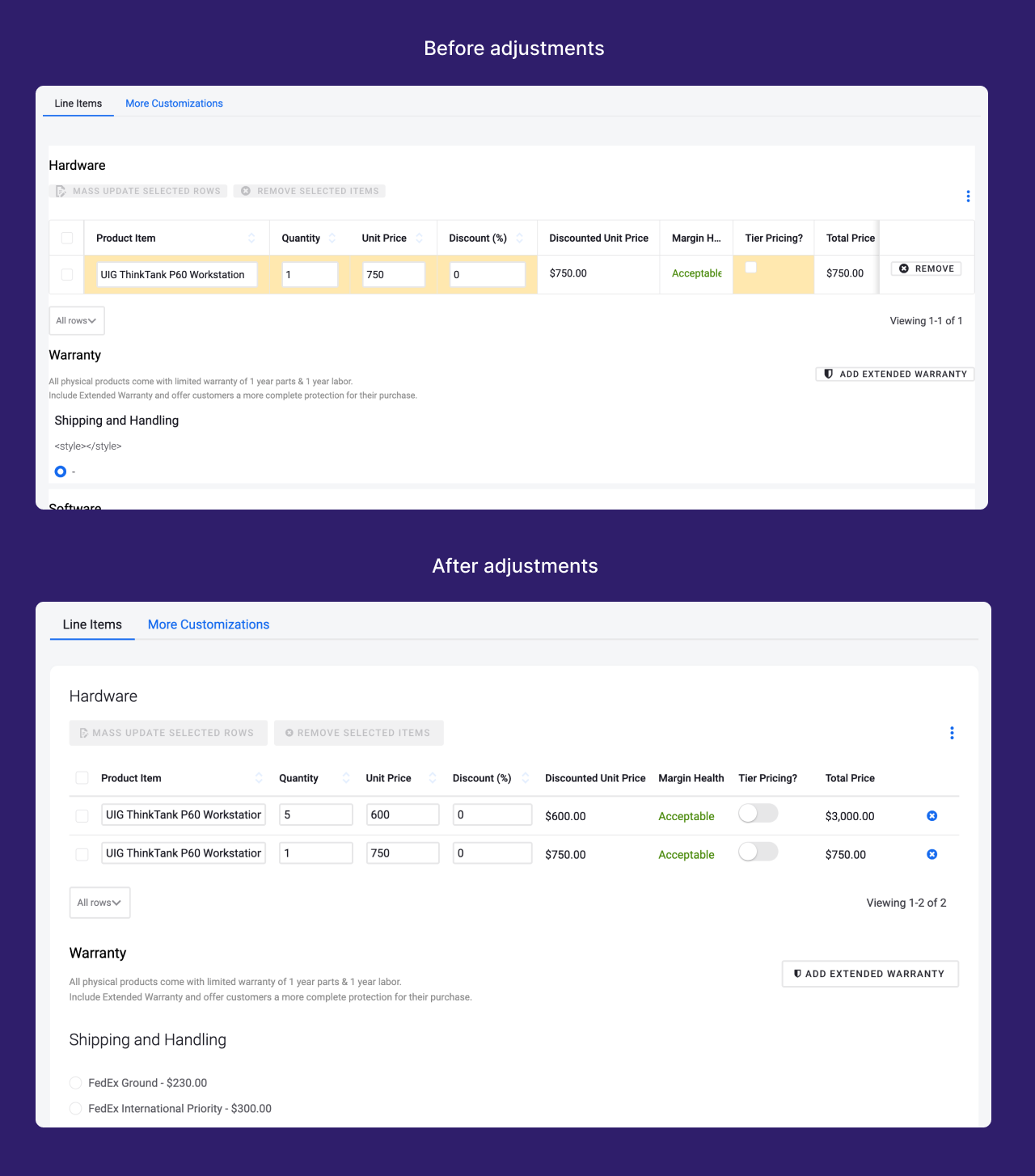 A screenshot showing a page before and after styling adjustments were made.