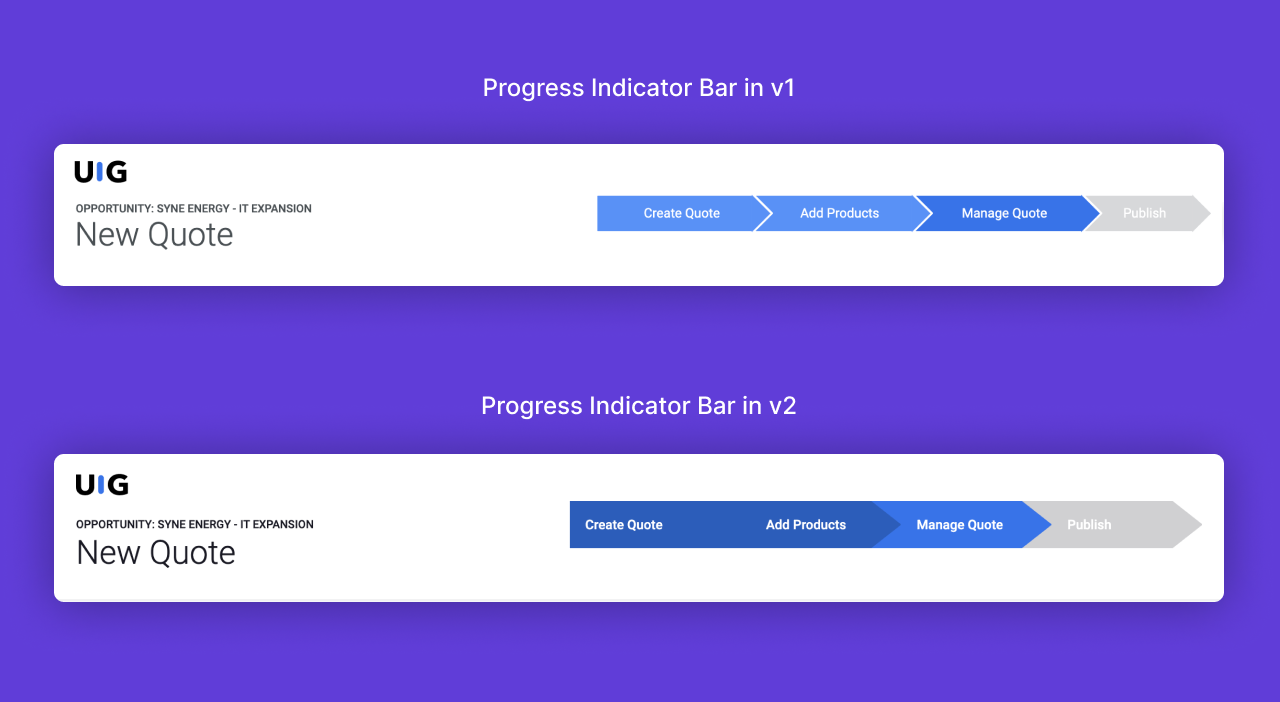 Screenshots comparing the progress indicator bar in v1 and v2