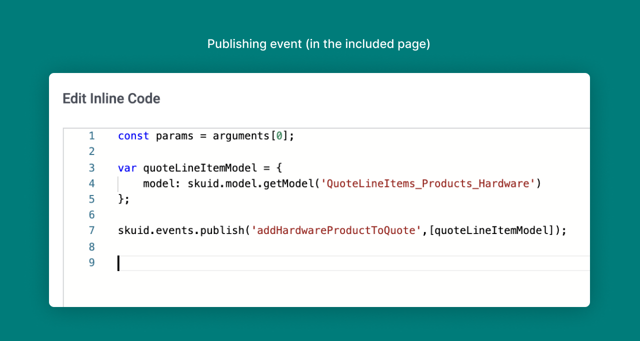 A screenshot showing the code snippet for the publishing event in the included page