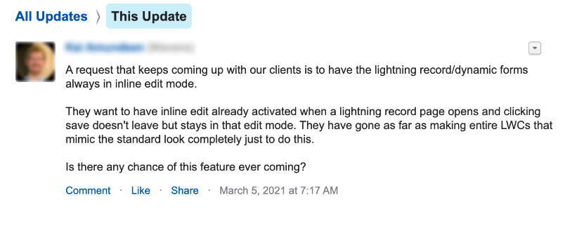 A user in a forum asking if Salesforce plans to add inline editing capabilities for Lightning records.