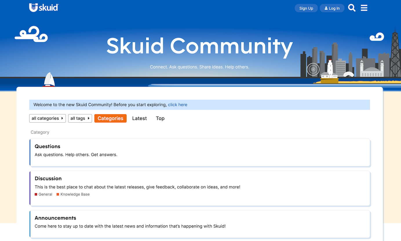 A screenshot of the new, improved Skuid Community