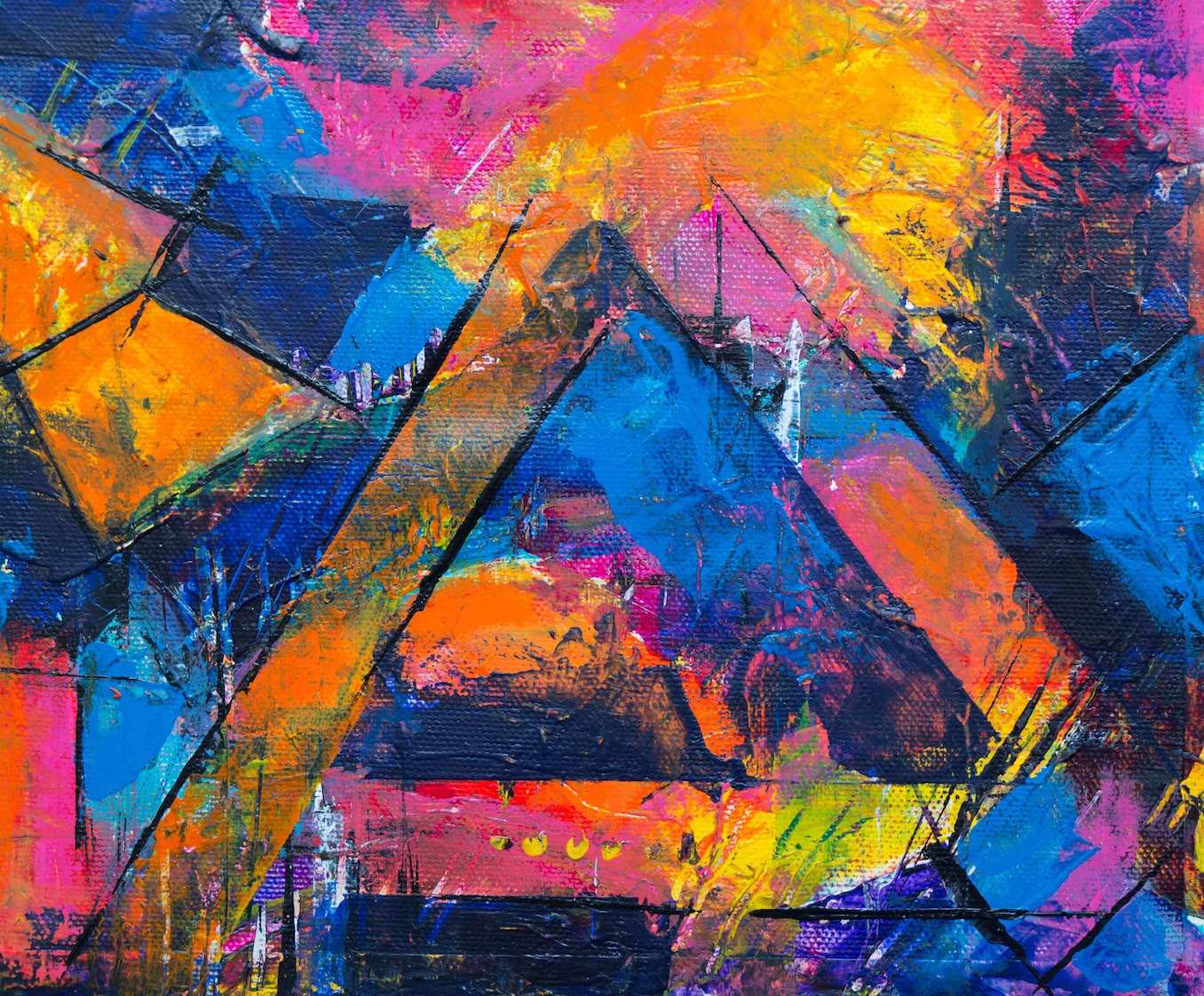 A colorful abstract painting with angular shapes