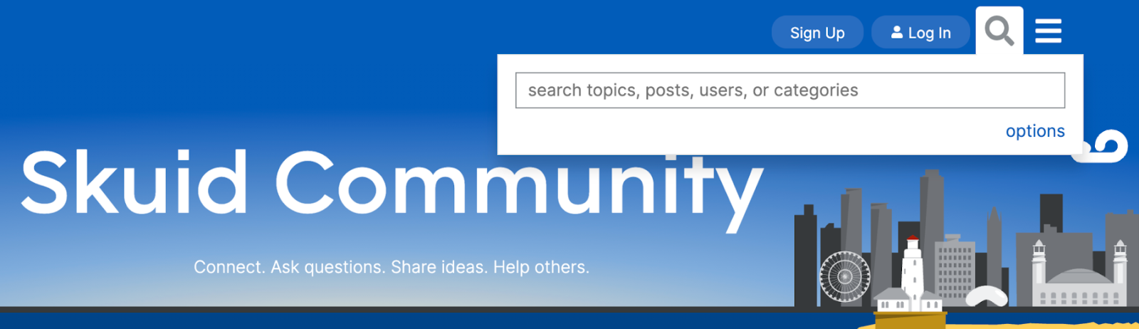 A screenshot showing the search field at the top right of the Skuid Community homepage