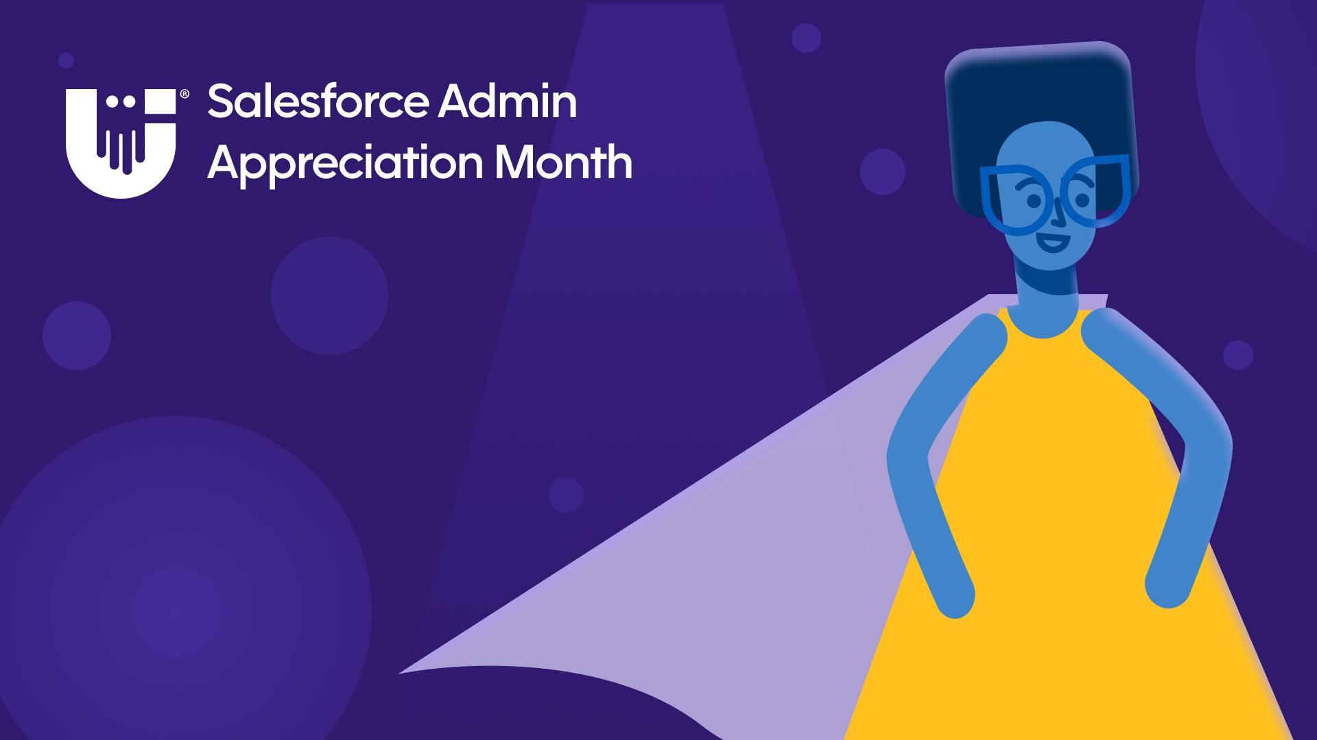 Salesforce admin appreciation month - woman in yellow dress wearing cape on a purple background.