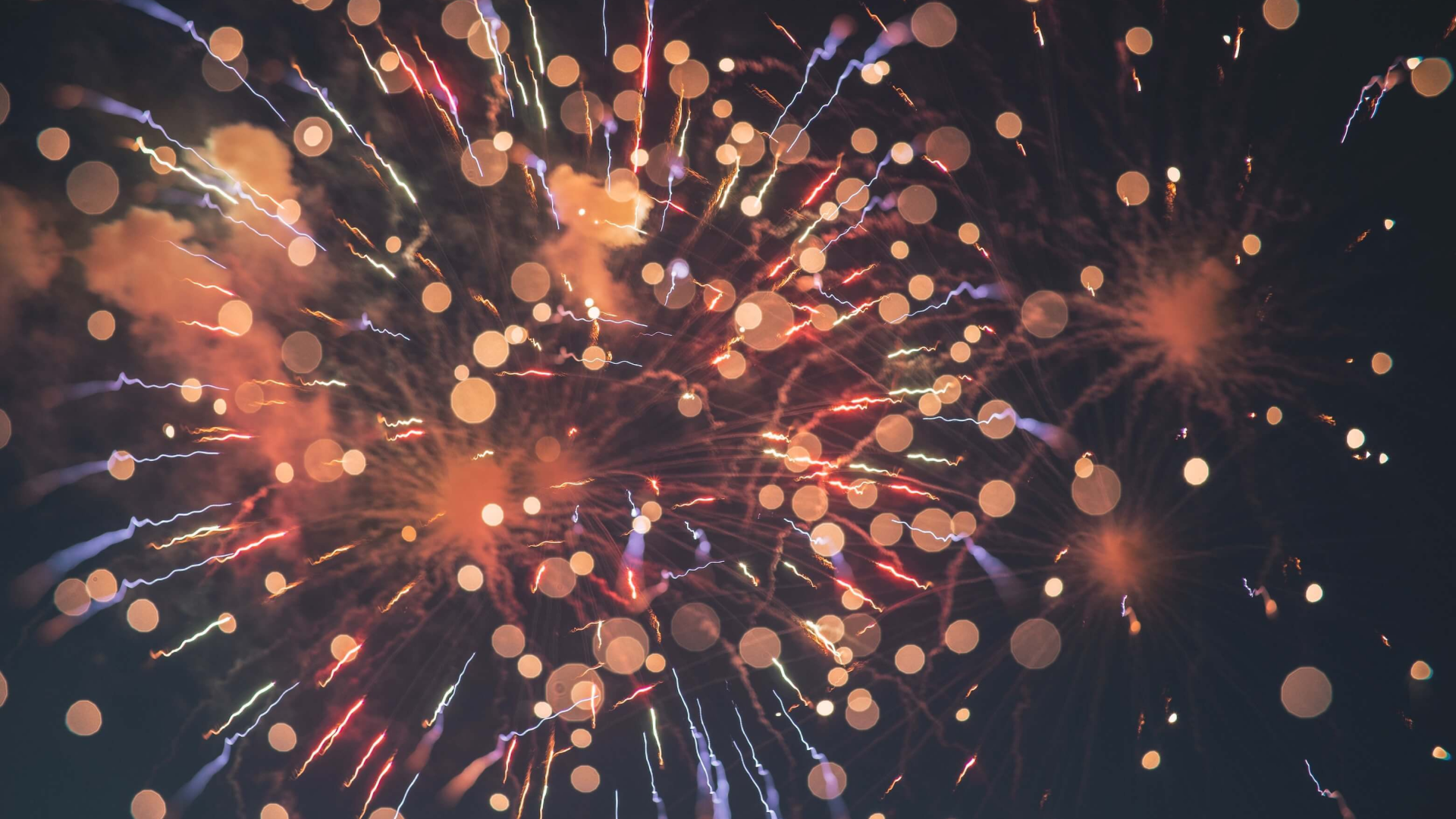 Fireworks with lens flare