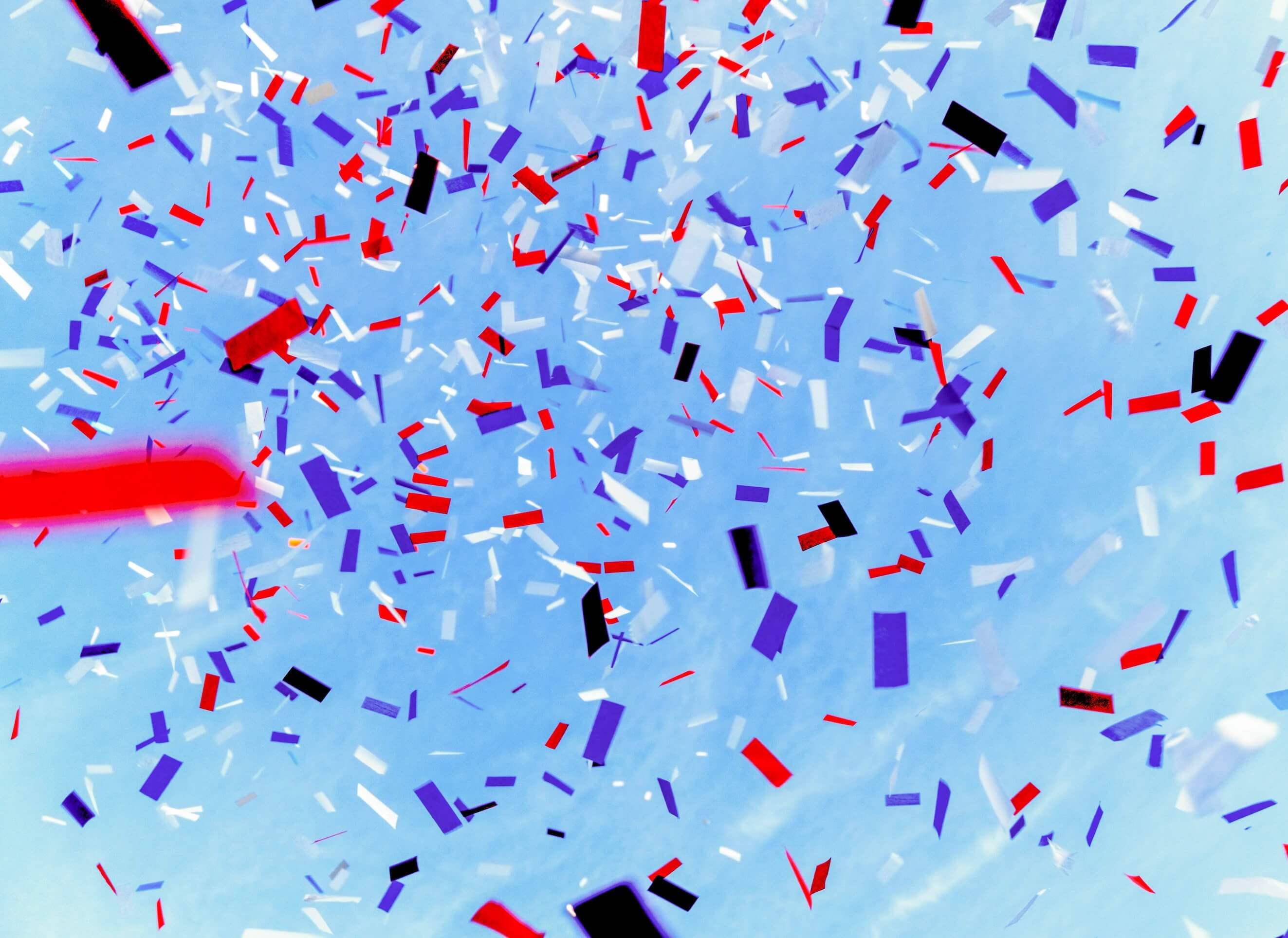 Red, white, and blue confetti