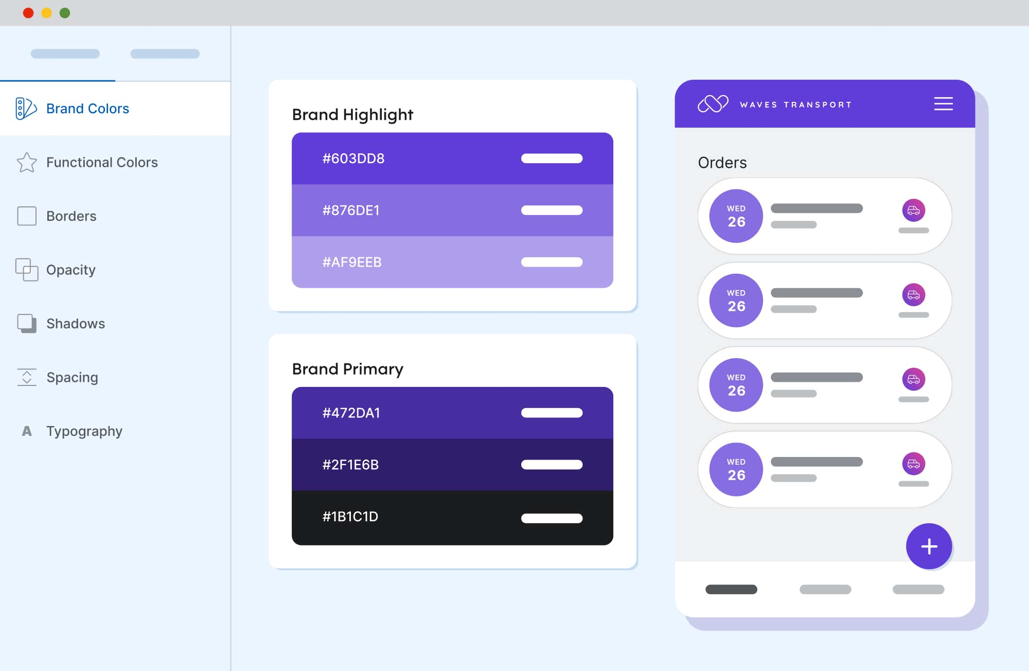Mockup of a browser showing the Design System Studio and how one change to the primary color creates a whole new color system.