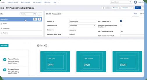 Screenshot of an app being built in Skuid.