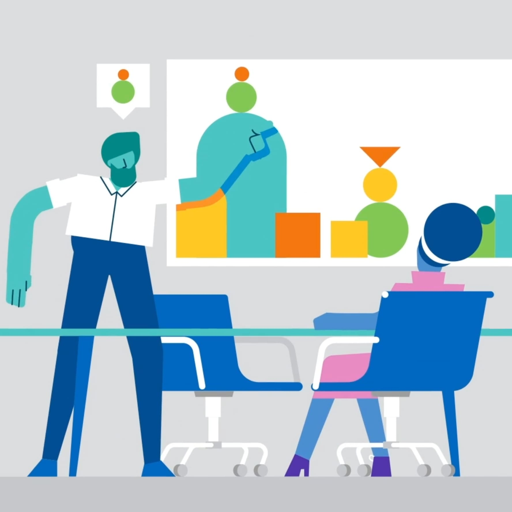 """Screenshot of the """"What we do"""" video showing flat illustration style characters in a board room."""