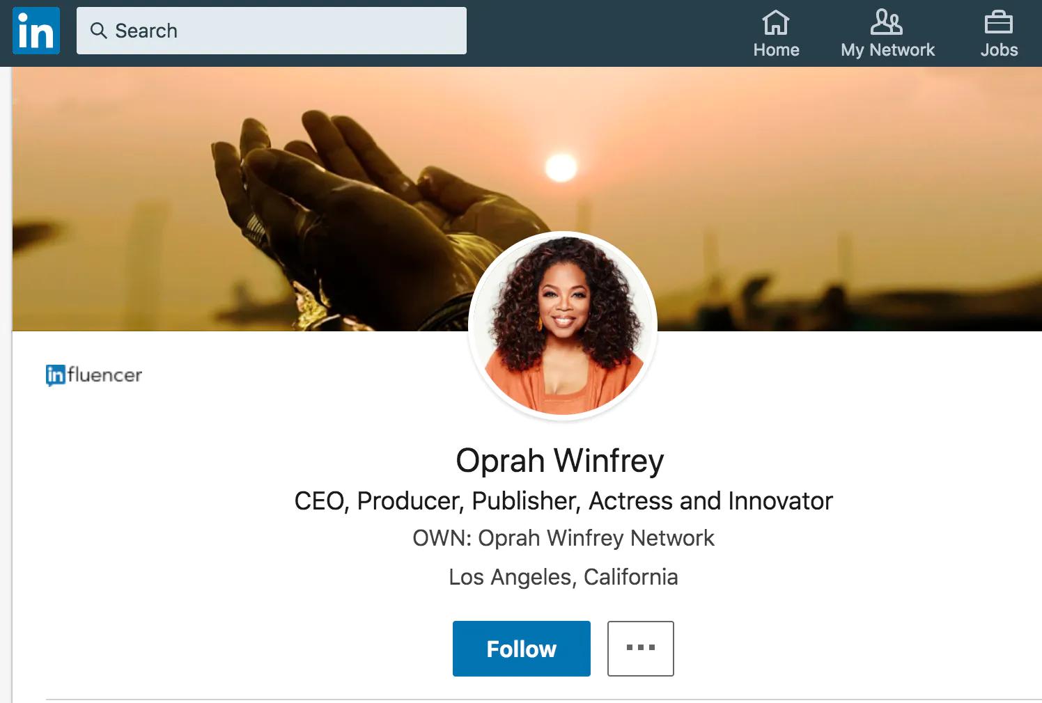 LinkedIn influencer badge, Oprah Winfrey