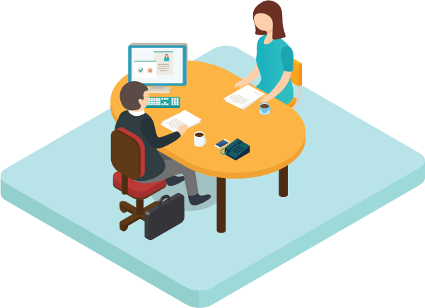 Image of Two people sitting for an Exploratory Interview