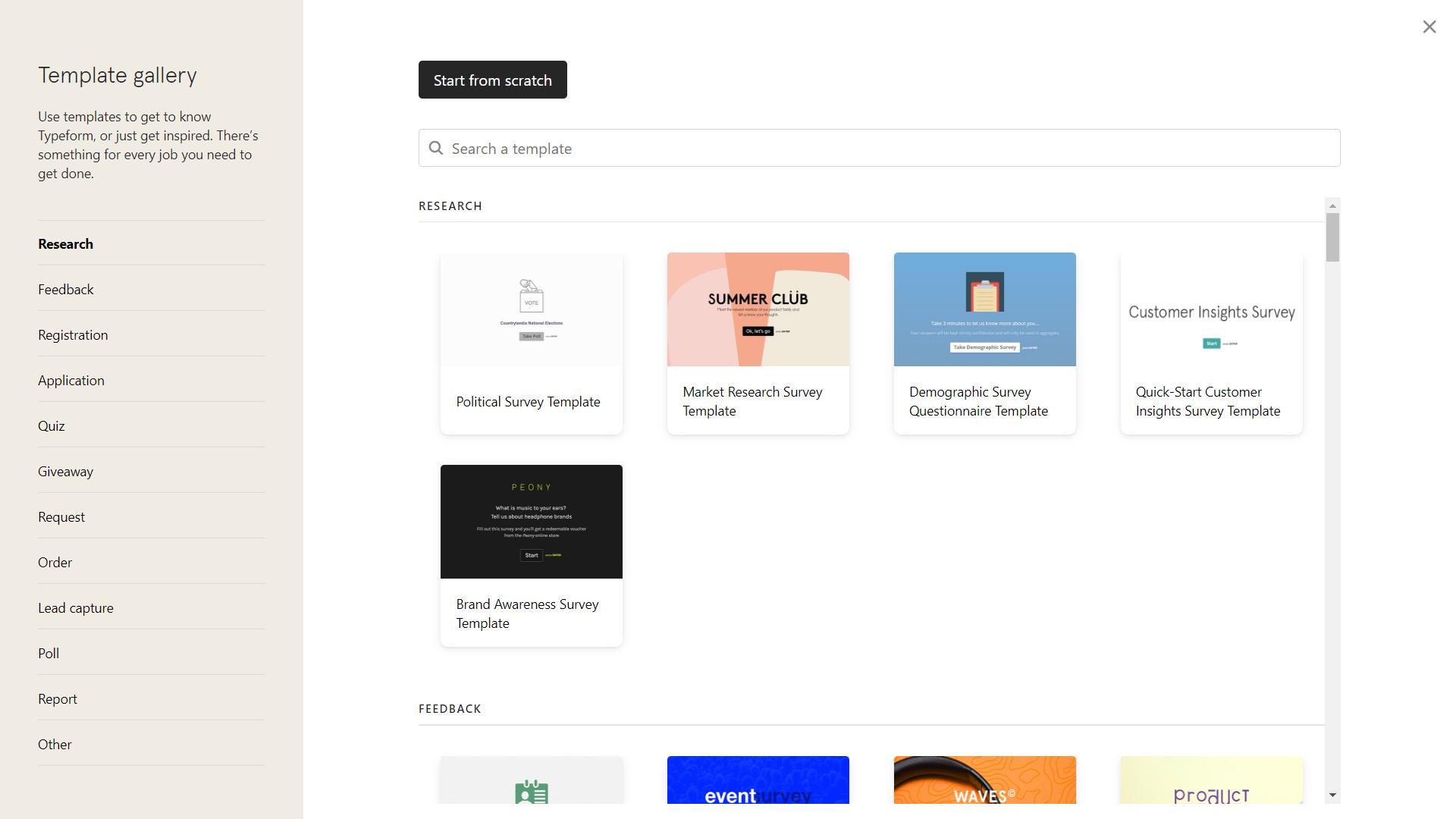Screenshot of Typeform Template Gallery